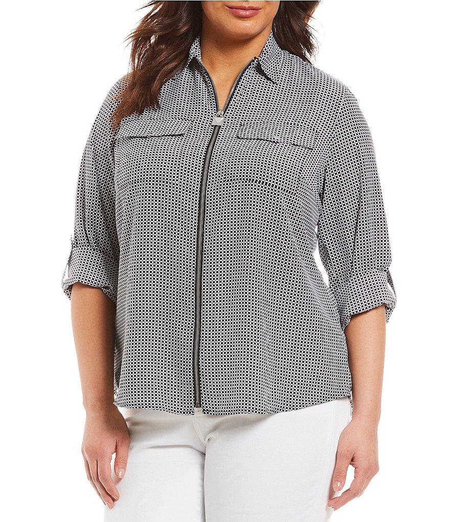 MICHAEL Michael Kors Plus Size Mini Mod Geometric Print Lock-Tag Zip Front Roll-Sleeve Shirt