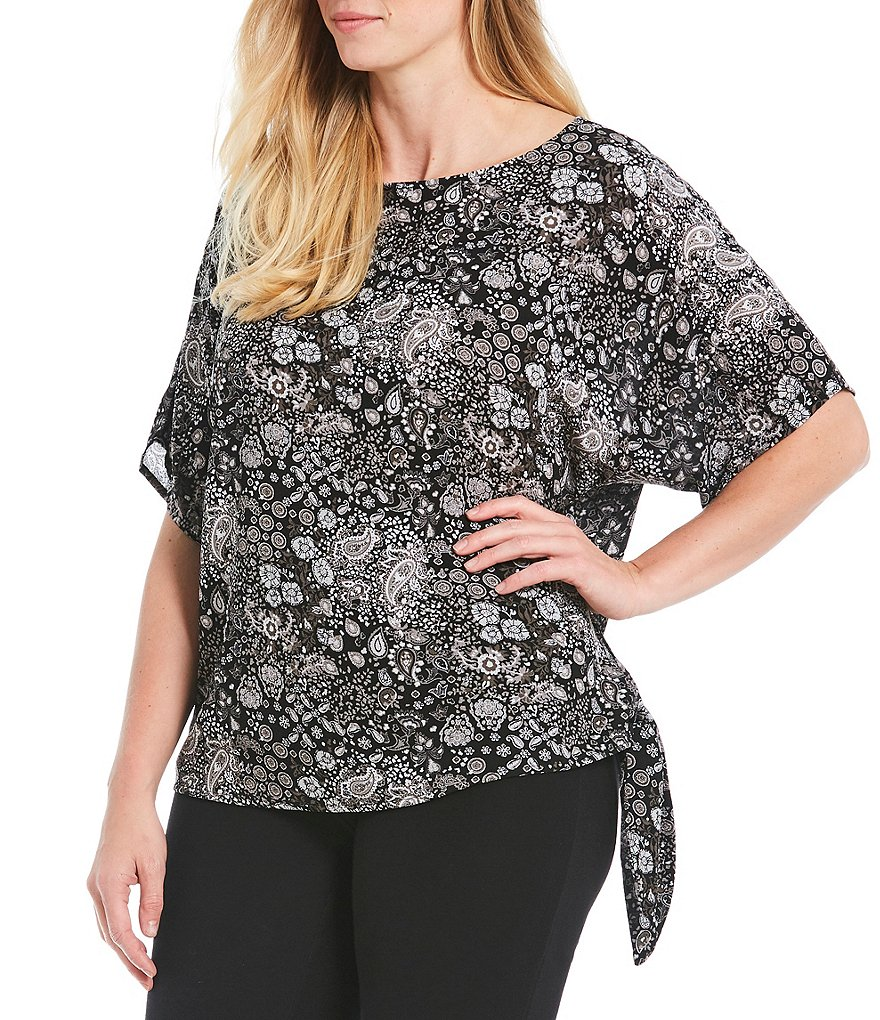 MICHAEL Michael Kors Plus Size Paisley Remix Print Side-Tie Top