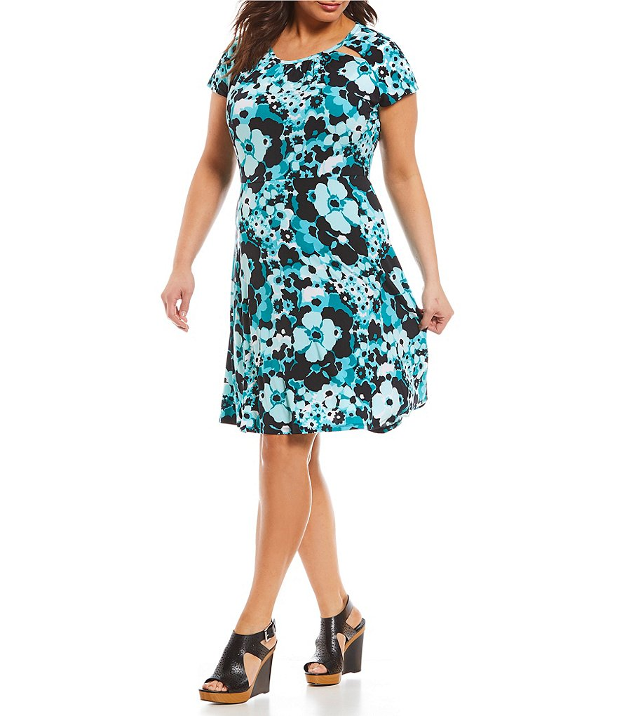 MICHAEL Michael Kors Plus Size Springtime Floral Print Cut-Out Shirred Neck Flare Dress