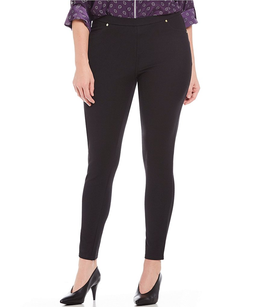 MICHAEL Michael Kors Plus Stretch-Twill Knit Leggings
