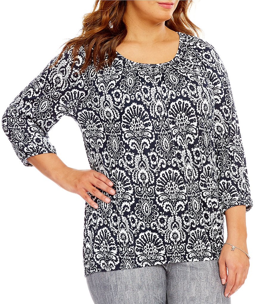 MICHAEL Michael Kors Plus Tapestry Print Knit Jersey Peasant Top