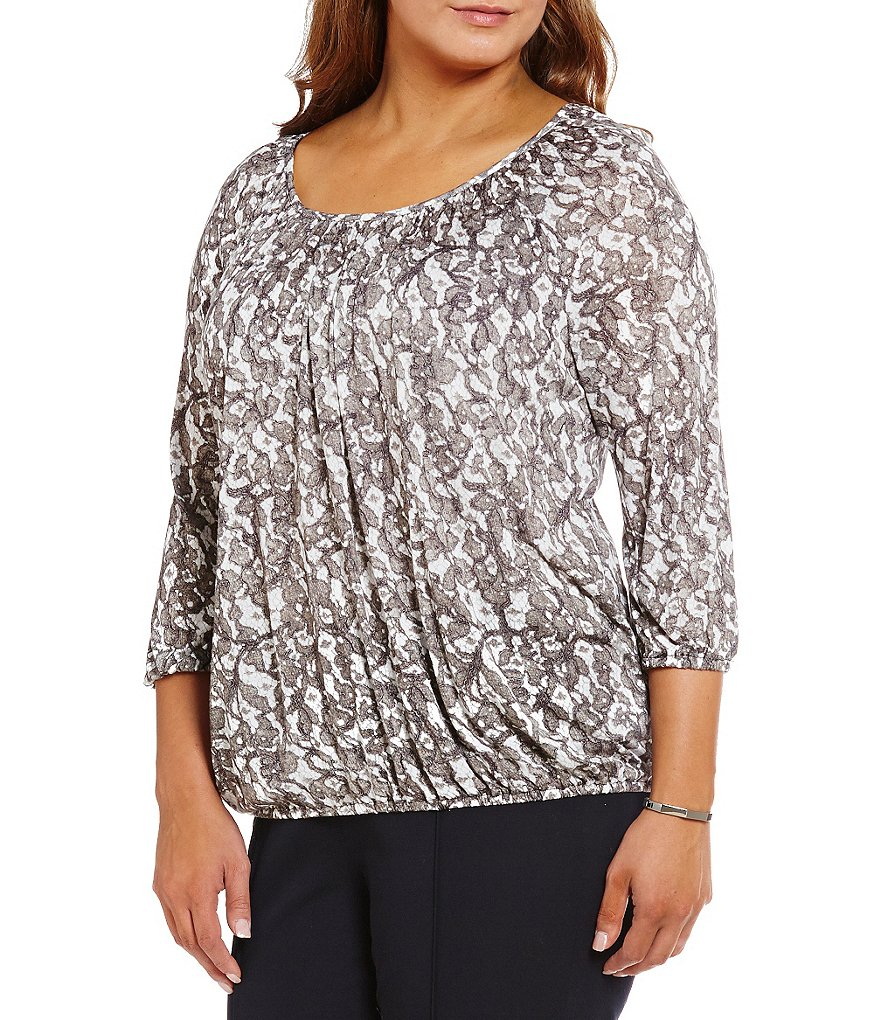MICHAEL Michael Kors Plus Umbria Lace-Print Jersey Peasant Top