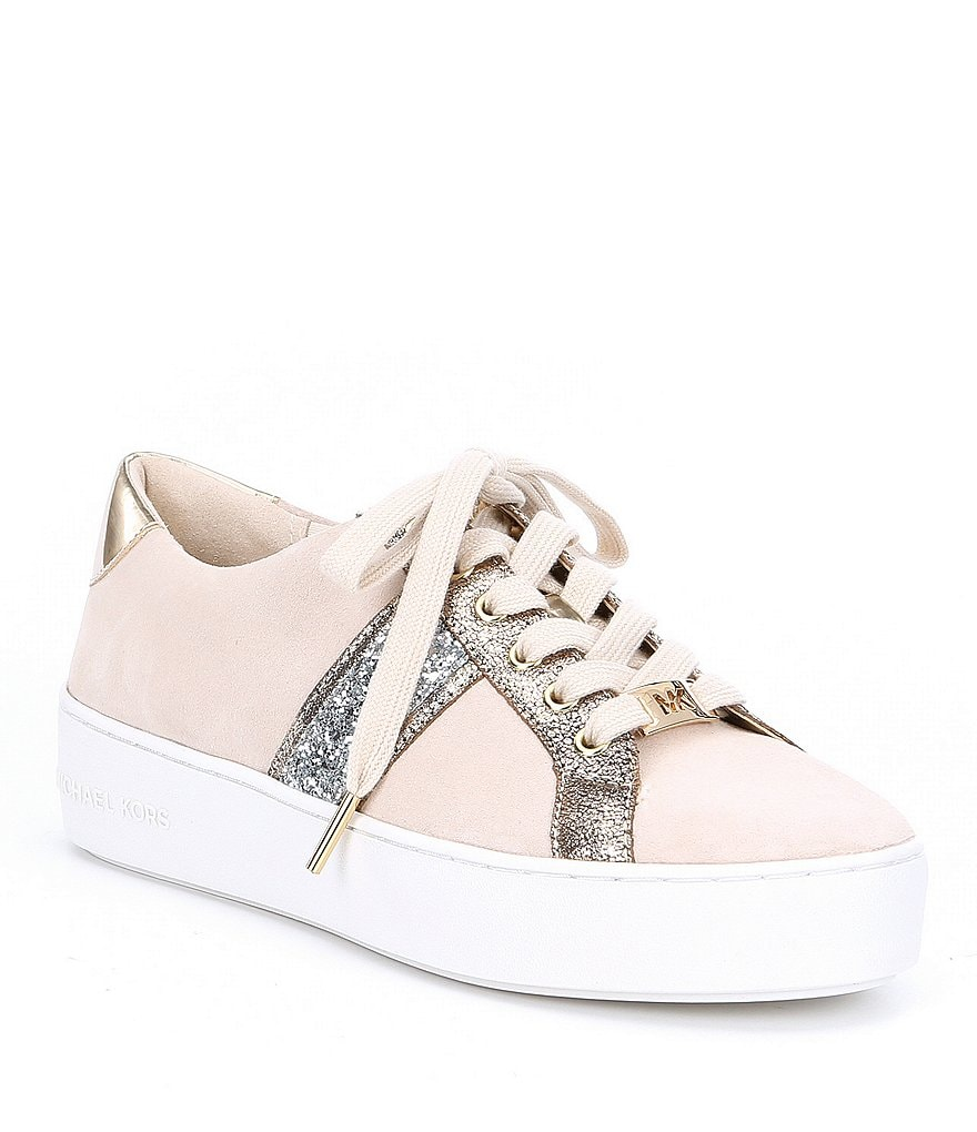 MICHAEL Michael Kors Poppy Suede Stripe Lace Up Sneakers