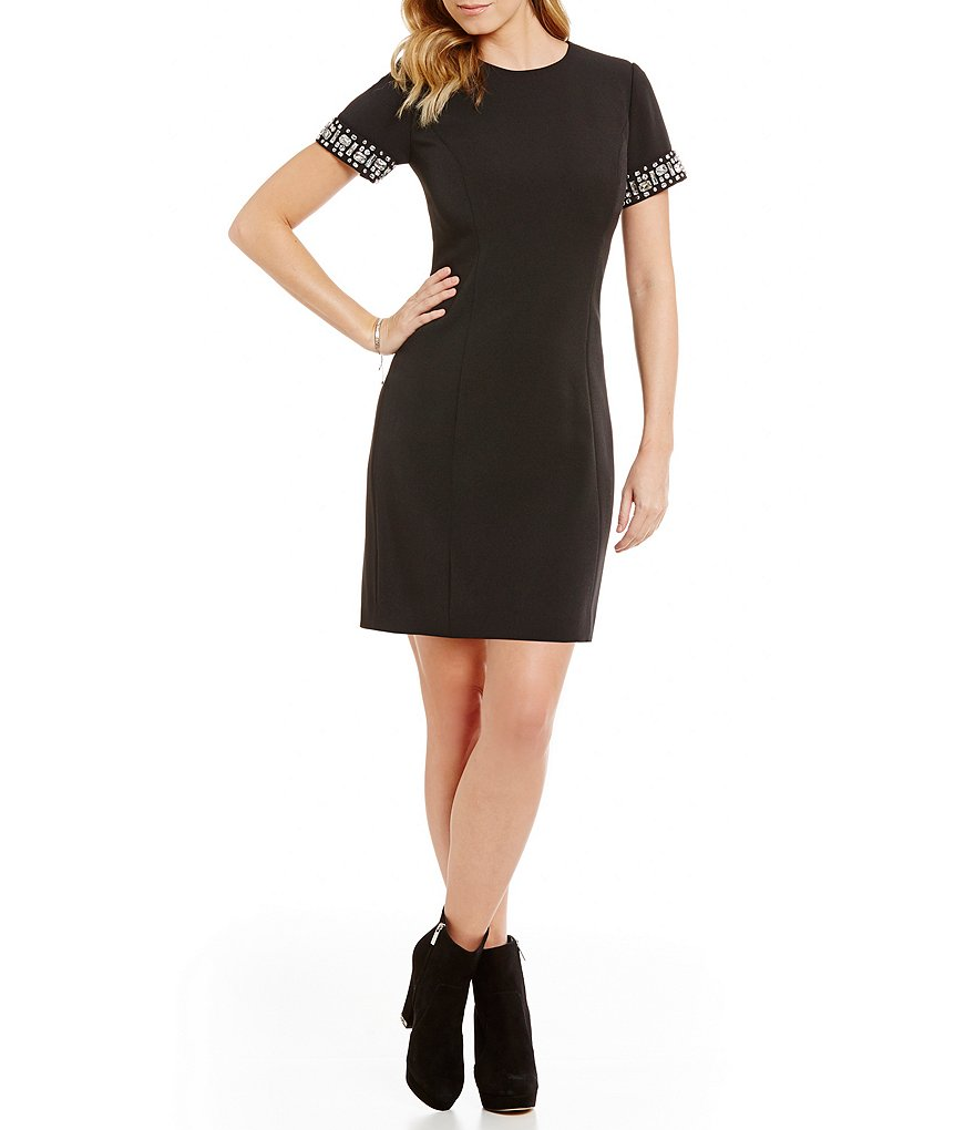 MICHAEL Michael Kors Rhinestone Embellished Short Sleeve Shift Dress