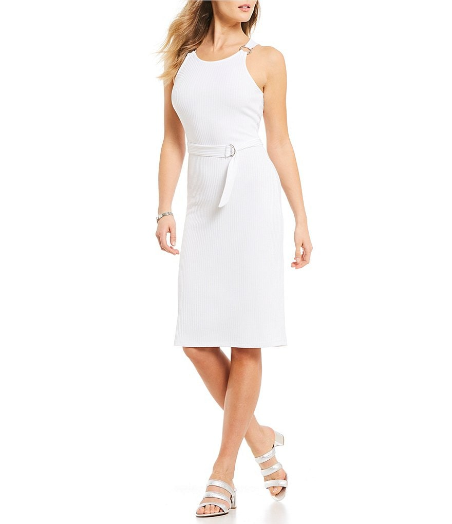 MICHAEL Michael Kors Rib Knit Metal Ring Trim Tank Dress