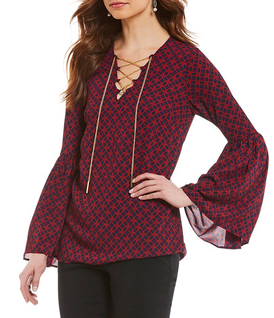 MICHAEL Michael Kors Rope Geometric Print Chain Lace-Up V-Neck Bell Sleeve Top