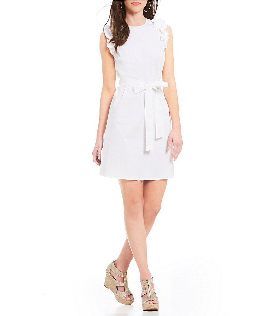 MICHAEL Michael Kors Ruffle Trim Poplin Belted Shift Dress