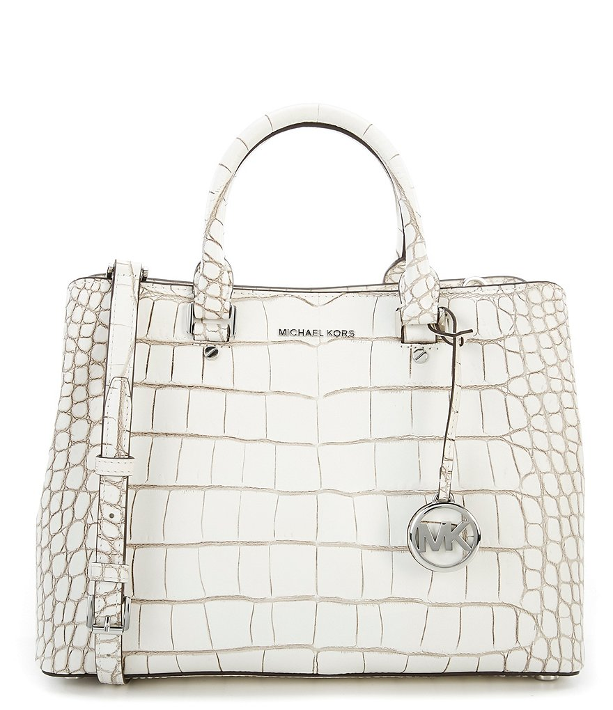 MICHAEL Michael Kors Savannah Croc-Embossed Large Satchel