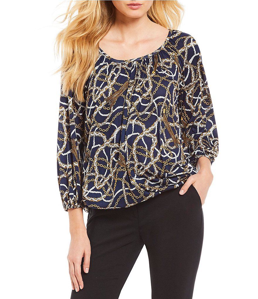 MICHAEL Michael Kors Scattered Tassel Links Print Knit Jersey Peasant Top