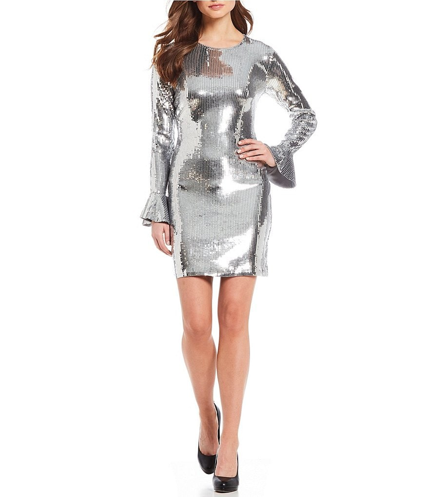 MICHAEL Michael Kors Metallic Sequin Matte Jersey Bell Sleeve Sheath Dress