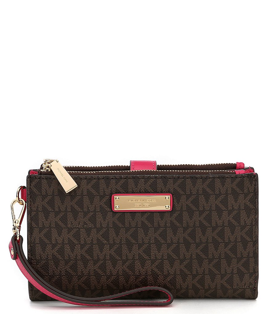 Overstock uses cookies to ensure you get the best experience on our site. If you continue on our site, you consent to the use of such cookies. Learn more. OK Wallets by Michael Kors. Clothing & Shoes / Michael Kors Jet Set Large Brown Wristlet. 3. Quick View.