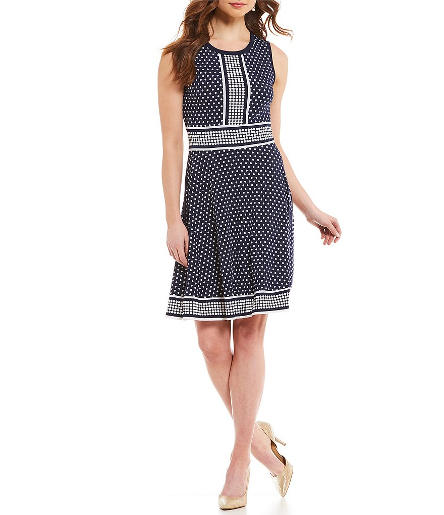 MICHAEL Michael Kors Simple Dot Border Print Matte Jersey Fit-and-Flare Dress