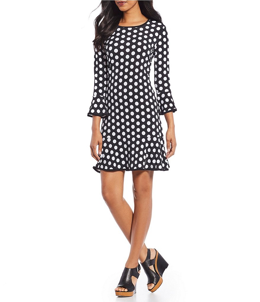 MICHAEL Michael Kors Simple Polka Dot Print Matte Jersey Flounce Dress
