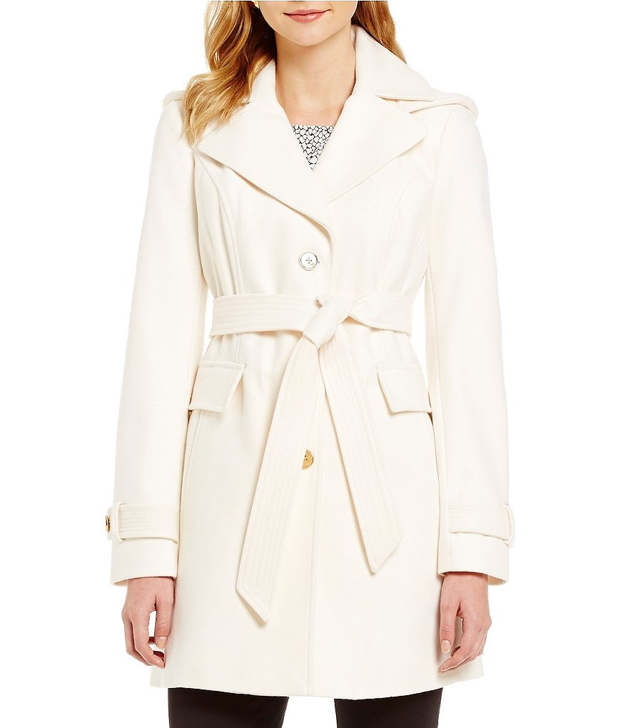 Michael Michael Kors Single Breasted Tie Front Wool Coat