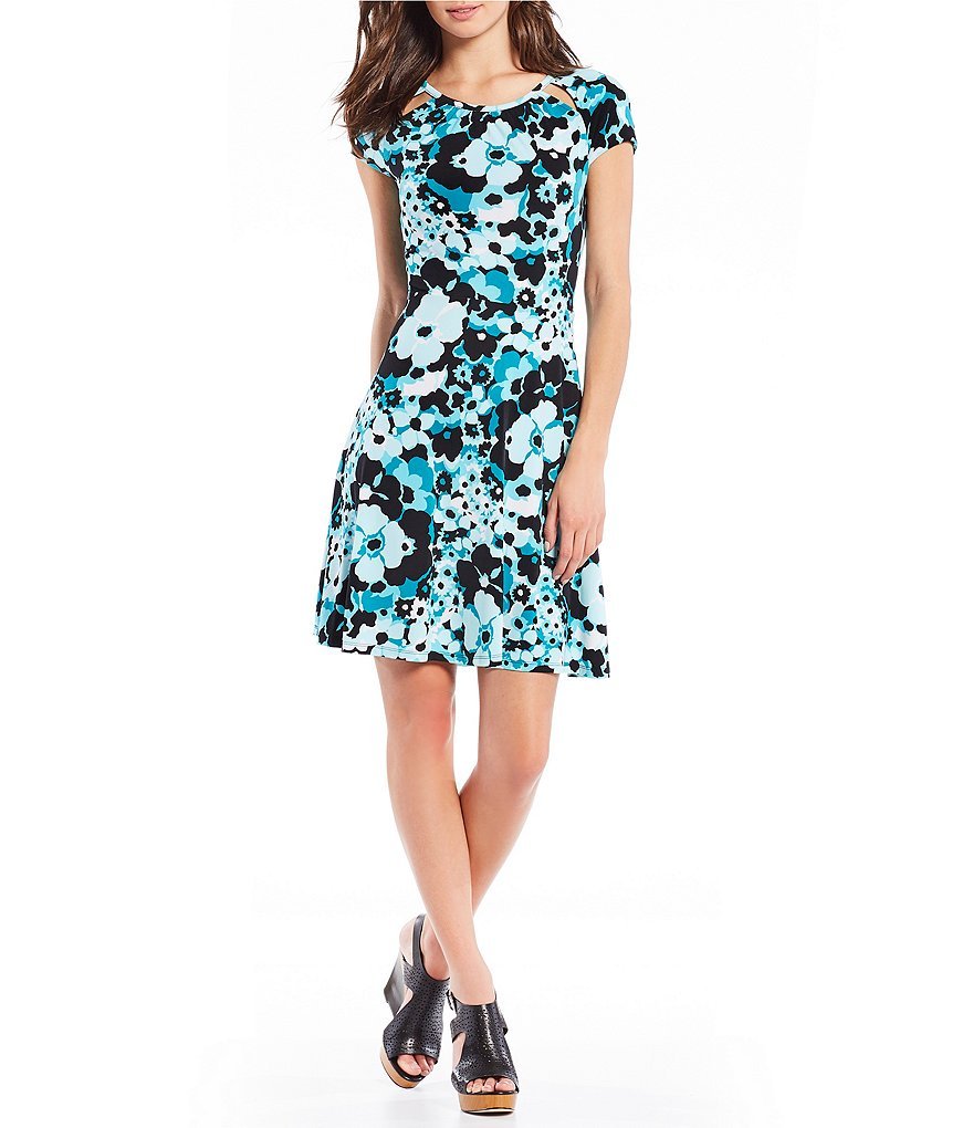 MICHAEL Michael Kors Springtime Floral Print Cut-Out Shirred Neck Flare Dress