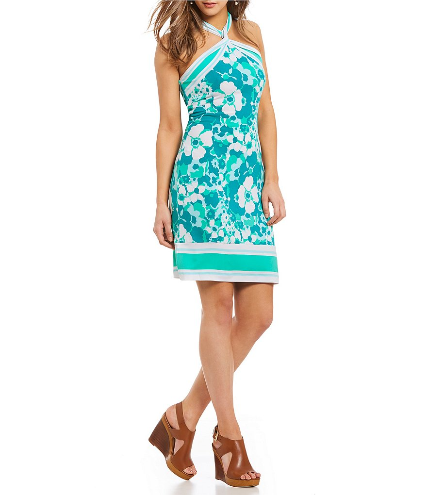 MICHAEL Michael Kors Springtime Floral Print Stripe Border Halter Twist Neck Sheath Dress