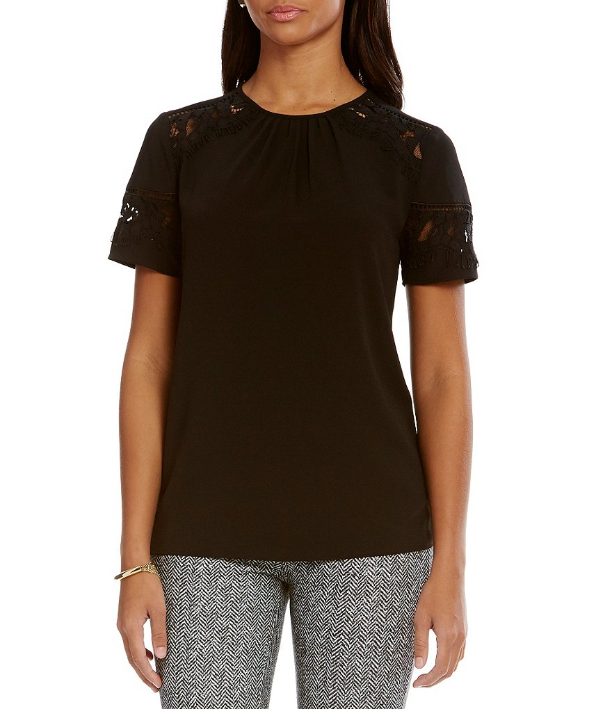 MICHAEL Michael Kors Stretch Crepe Lace Trim Top