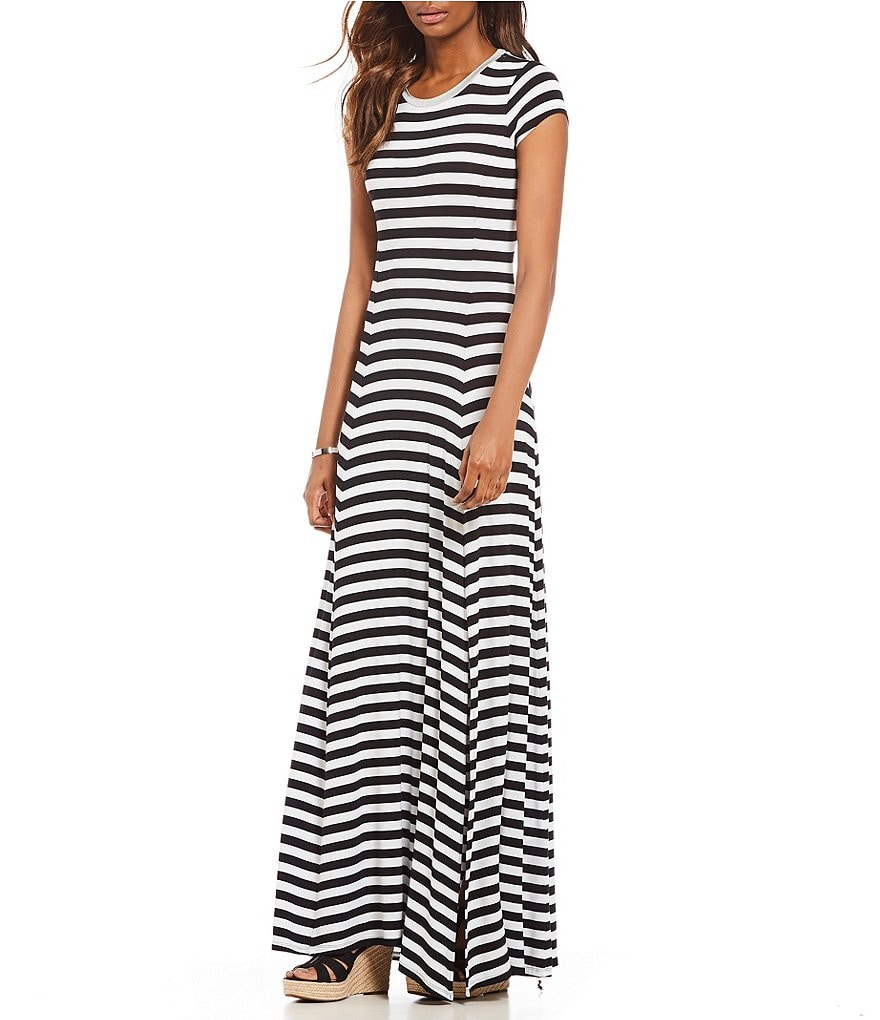 MICHAEL Michael Kors Stripe Knit Jersey Side Front Slit Maxi Dress ...