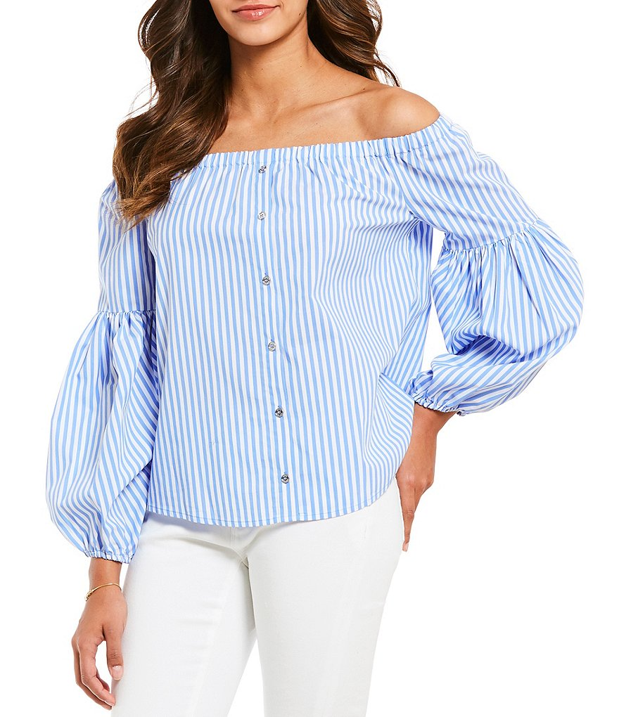 MICHAEL Michael Kors Stripe Poplin Off-The-Shoulder Balloon Sleeve Top
