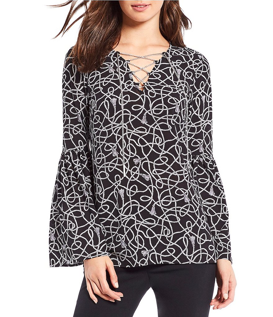 MICHAEL Michael Kors Twisted Rope Tassels Print Chain Lace-Up V-Neck Bell Sleeve Top