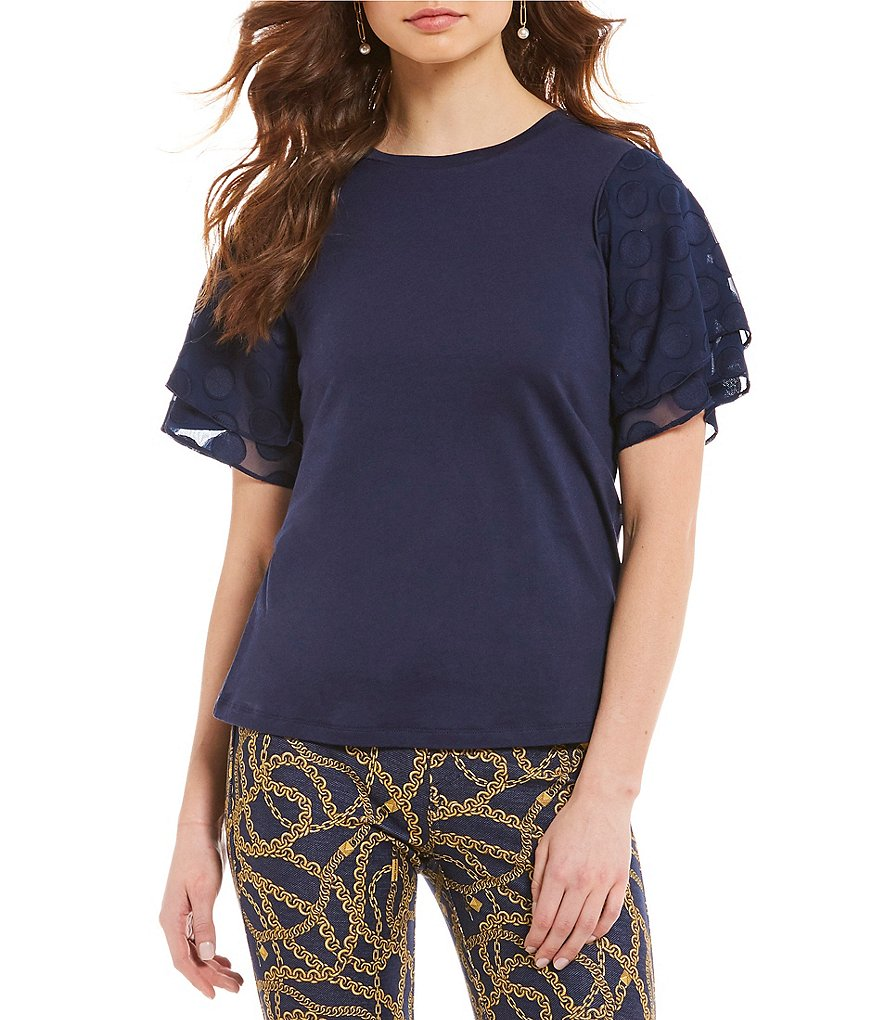 MICHAEL Michael Kors Woven Dot Tiered Flutter Sleeve Knit Tee