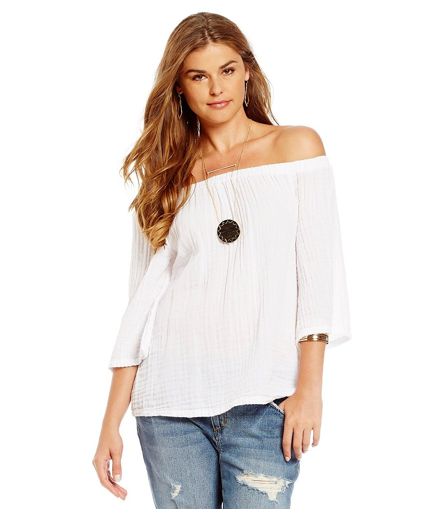 Michael Stars 3/4 Sleeve Off-The-Shoulder Top