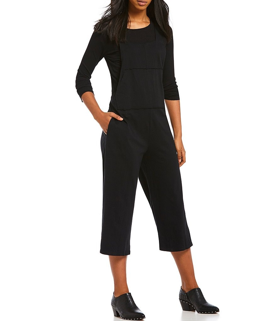 Michelle by Comune Hiltonia Cropped Knit Overall Culotte Jumpsuit