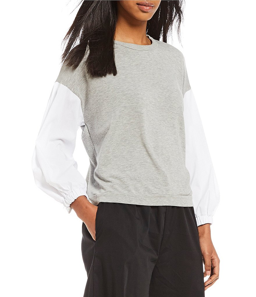 Michelle by Comune Hoschton Crew Neck Mixed Fabric Sleeve Knit Top