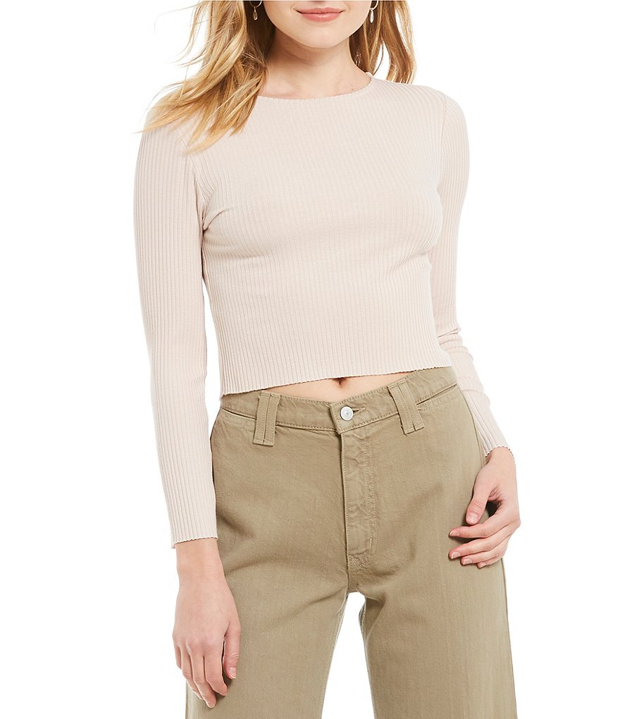 Michelle by Comune Zuma Long Sleeve Rib Knit Crop