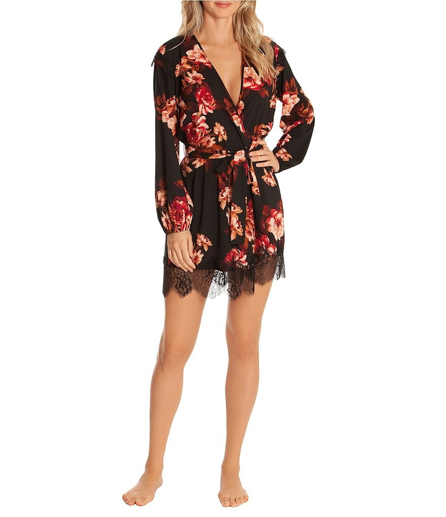 Midnight Bakery Laveau Floral-Print Stretch Satin Wrap Robe