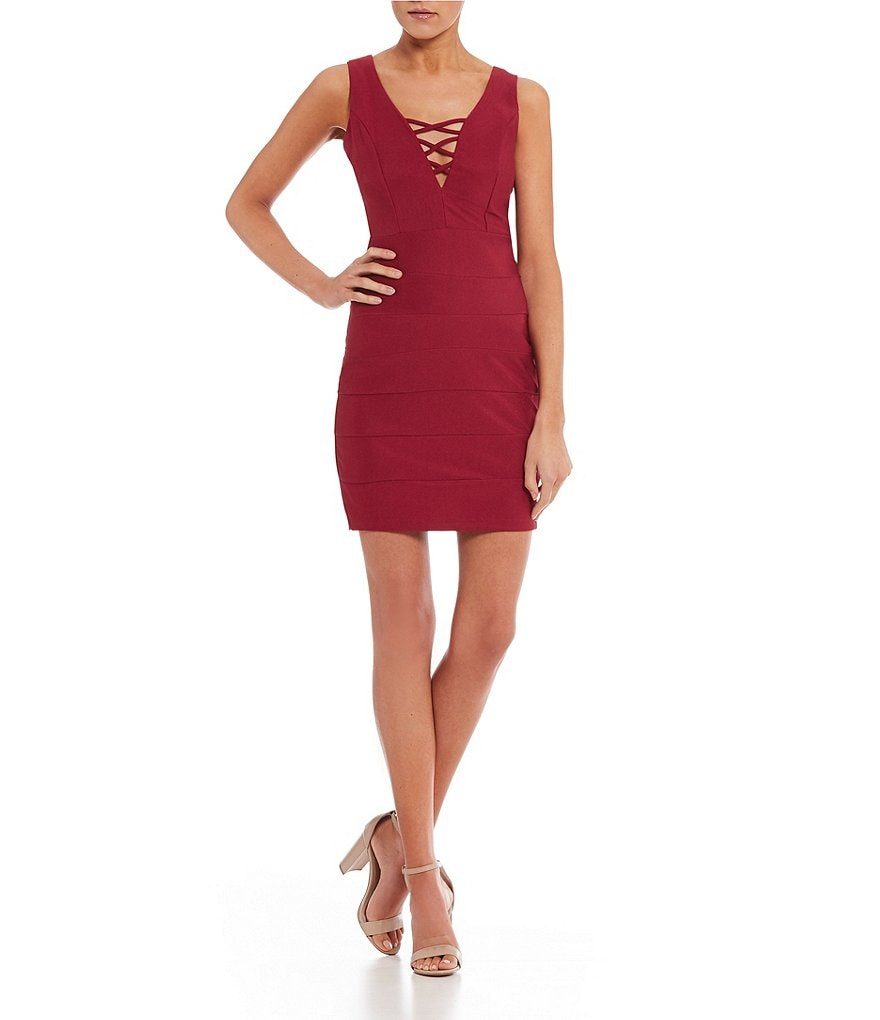 Midnight Doll Crisscross-Neck Ottoman Sheath Dress