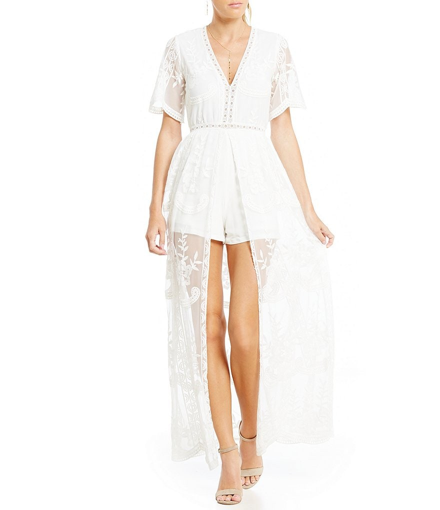 Midnight Doll Plunging V-Neck Embroidered Maxi Romper