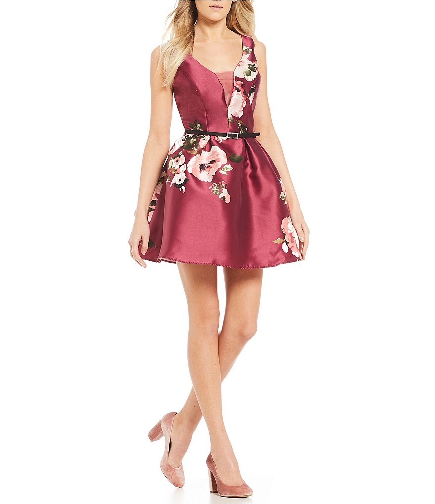 Midnight Doll V-Neck Floral Fit-and-Flare Dress