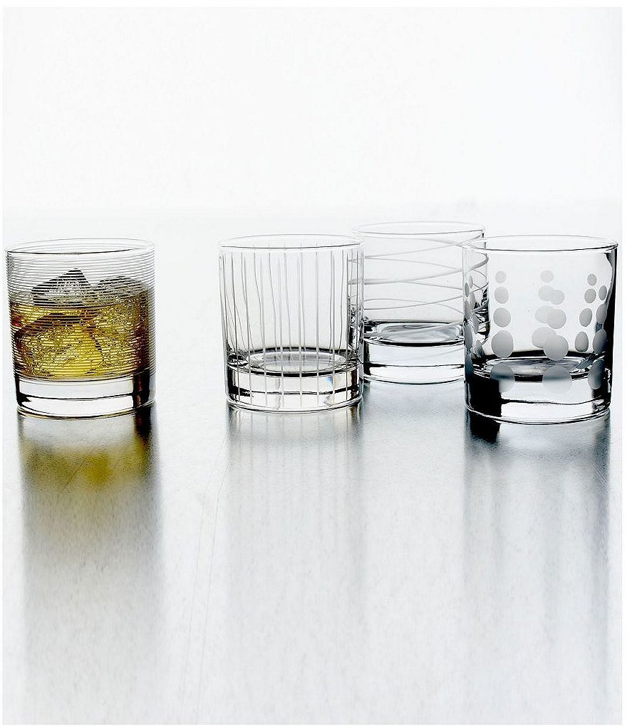 Mikasa Cheers Striped, Swirled & Dotted Double Old Fashioned Glasses, Set of 4