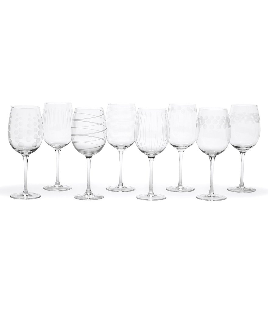 Mikasa Cheers Striped, Swirled & Dotted White Wine Glasses, Set of 8