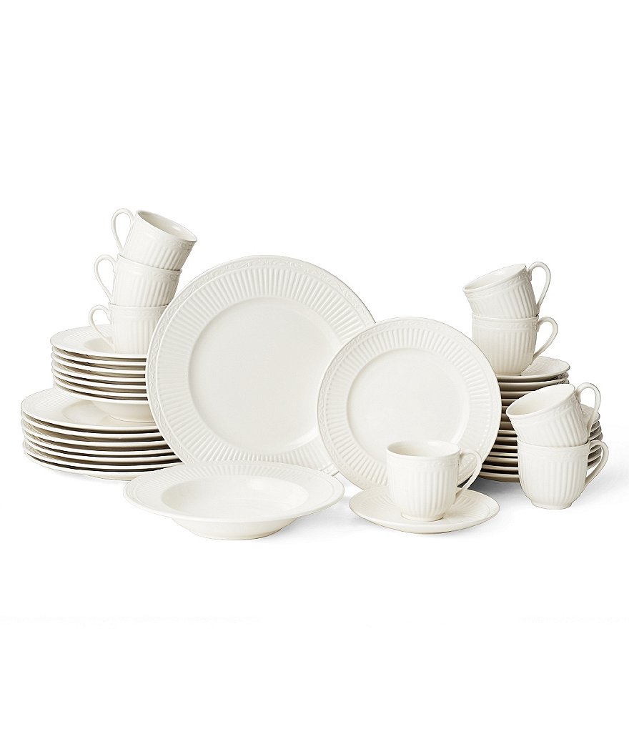 Mikasa Italian Countryside Accents Embossed Floral Stoneware 40-Piece Dinnerware Set