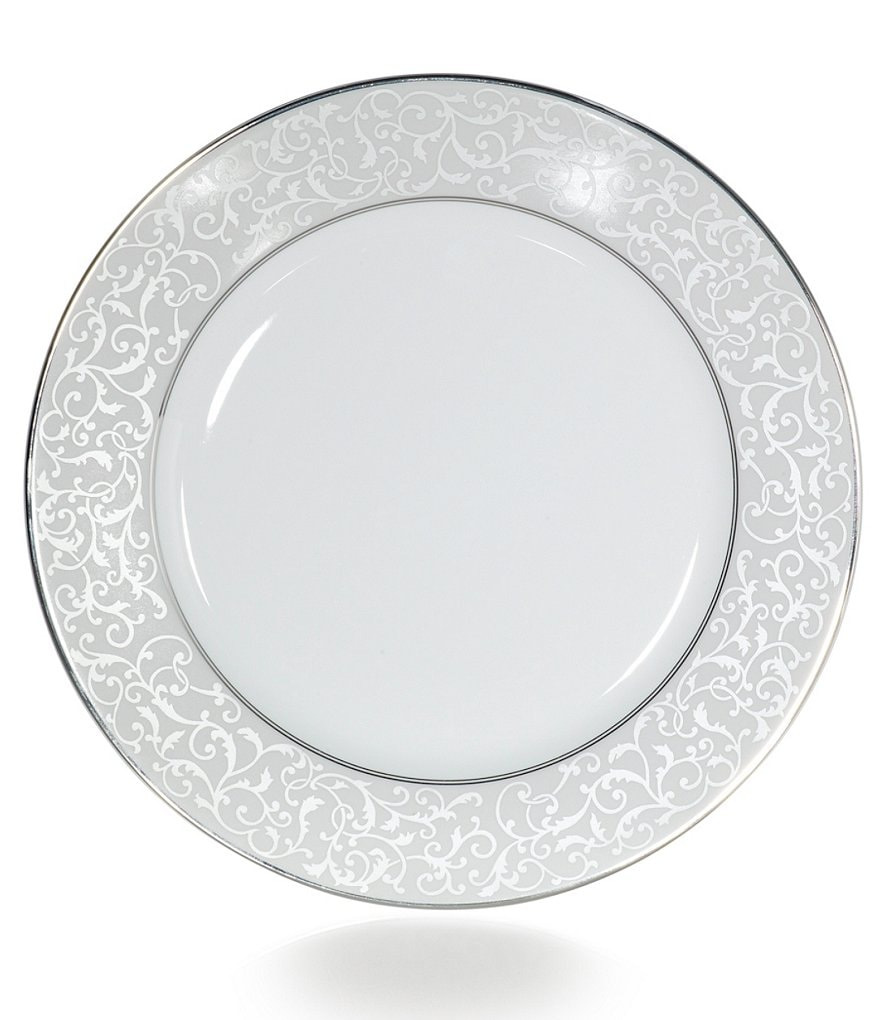 Mikasa Parchment Ivy Scroll Platinum Porcelain Dinner Plate