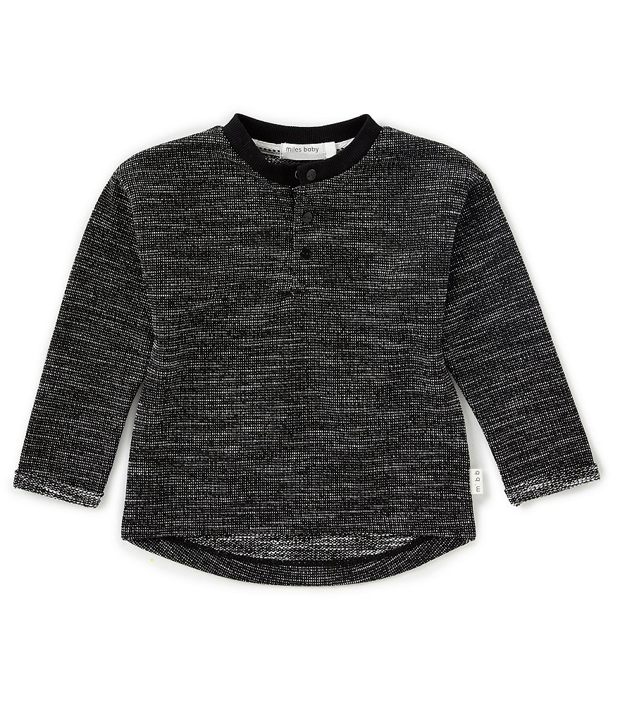 Miles Baby Baby Boys 12-24 Months Black Long Sleeve Henley Top