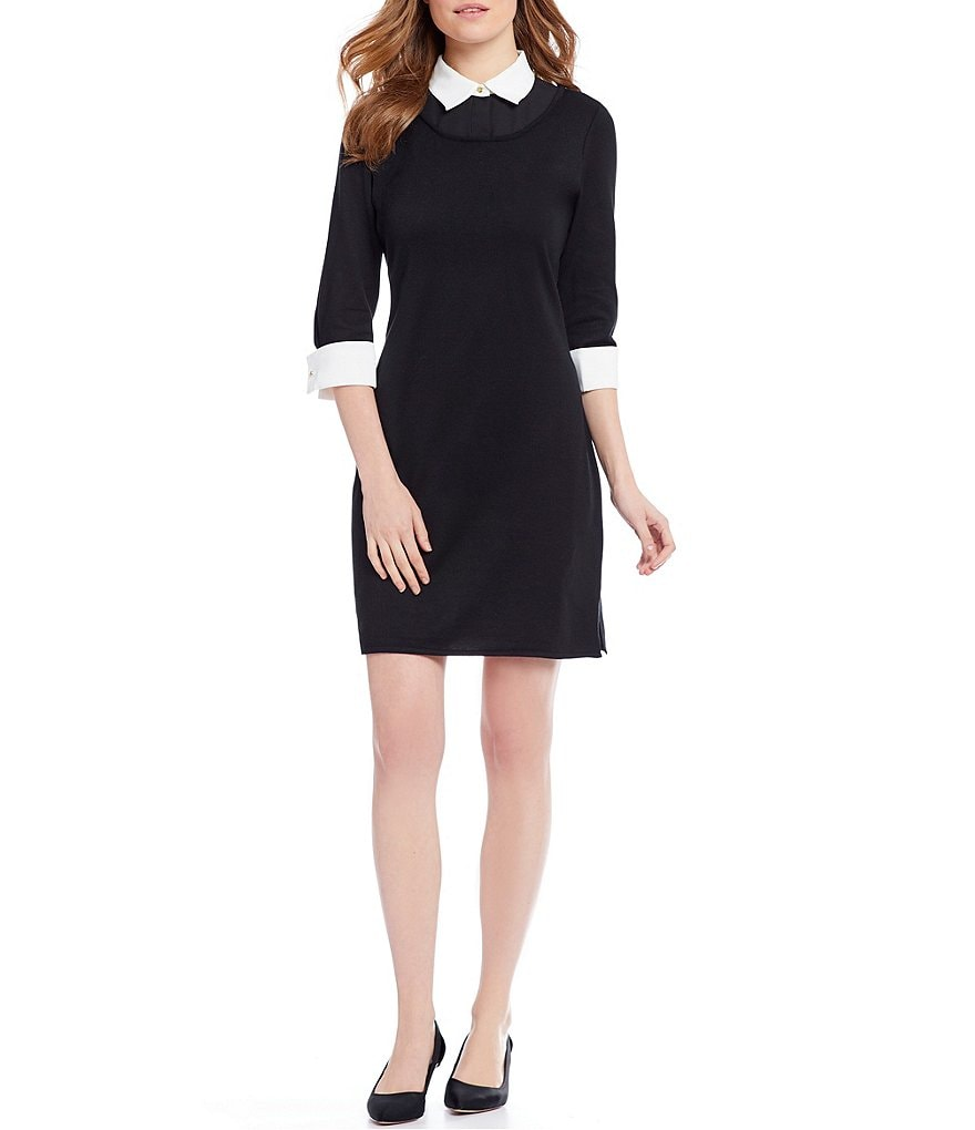 Ming Wang Contrast Trim Collar Dress