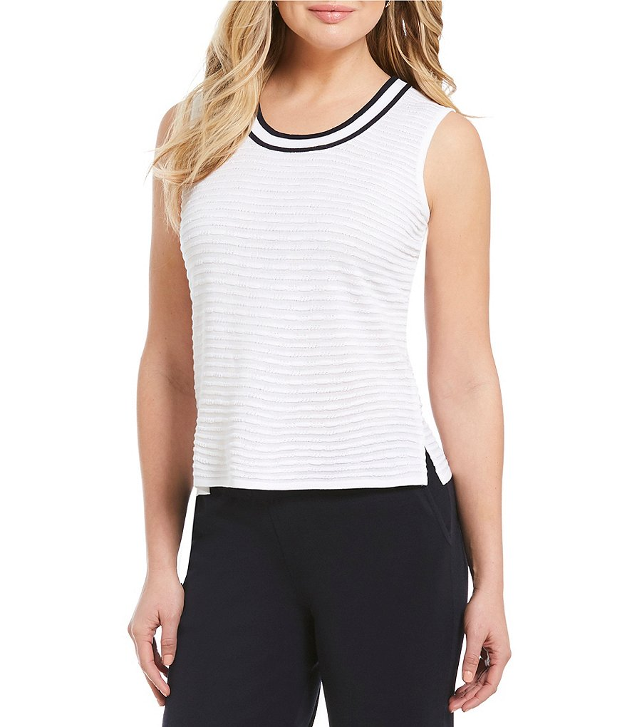 Ming Wang Contrast Trim Scoop Neck Tank