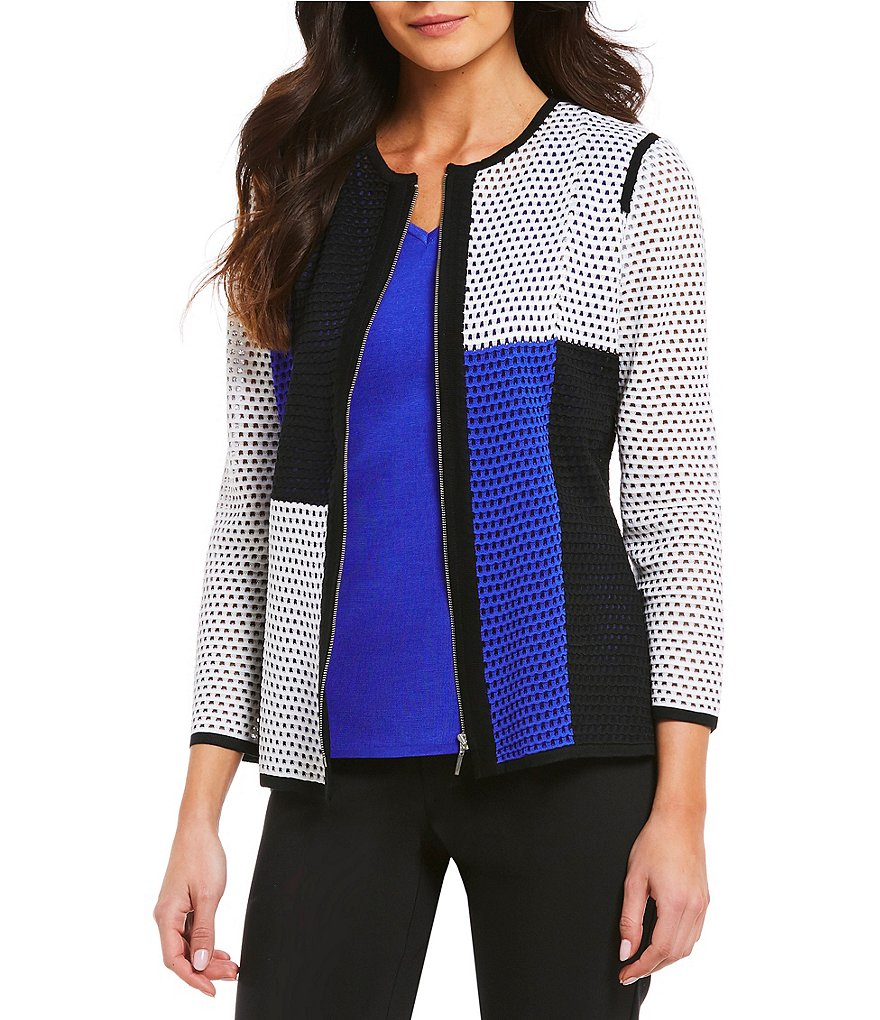 Ming Wang Jewel Neck Colorblock Jacket