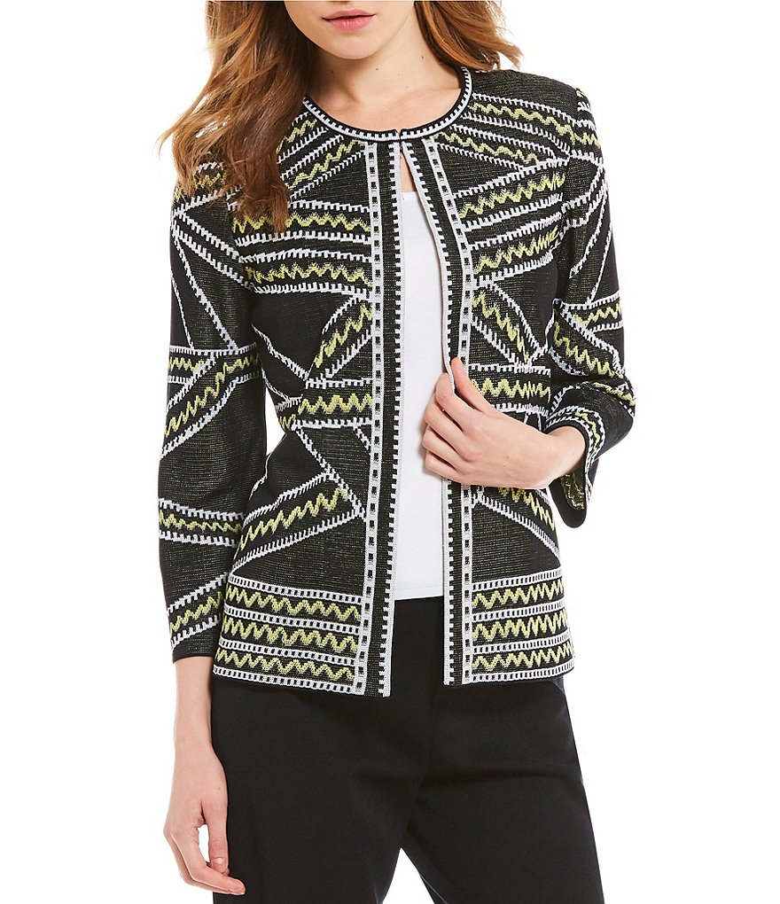 Ming Wang Jewel Neck Jacket