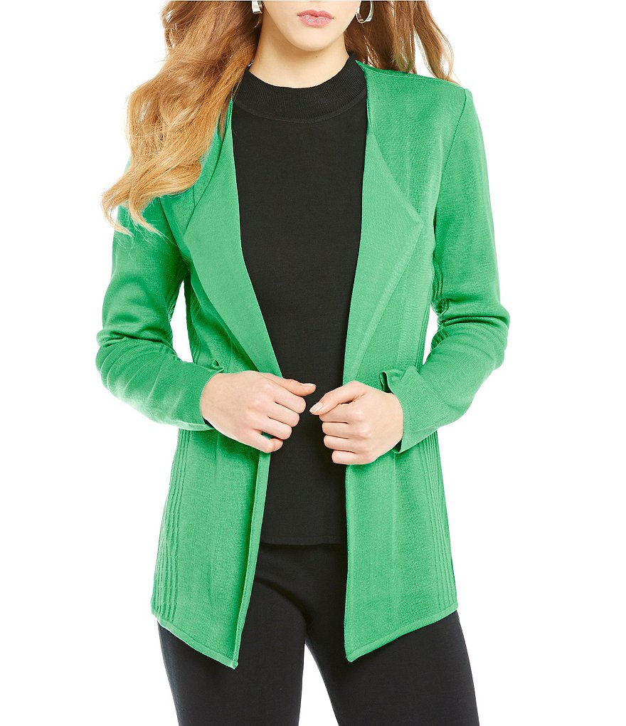 Ming Wang Modified Wing Collar Ooen Front Solid Jacket