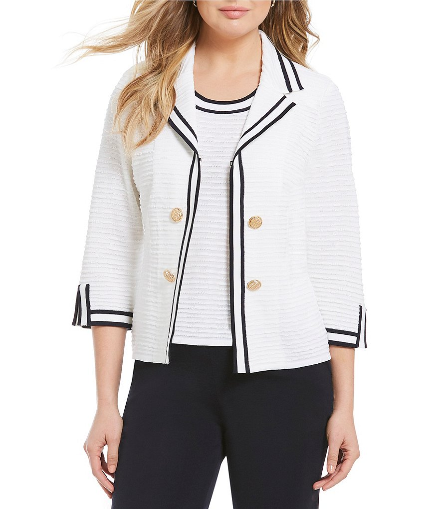 Ming Wang Notch Lapel Contrast Trim Jacket
