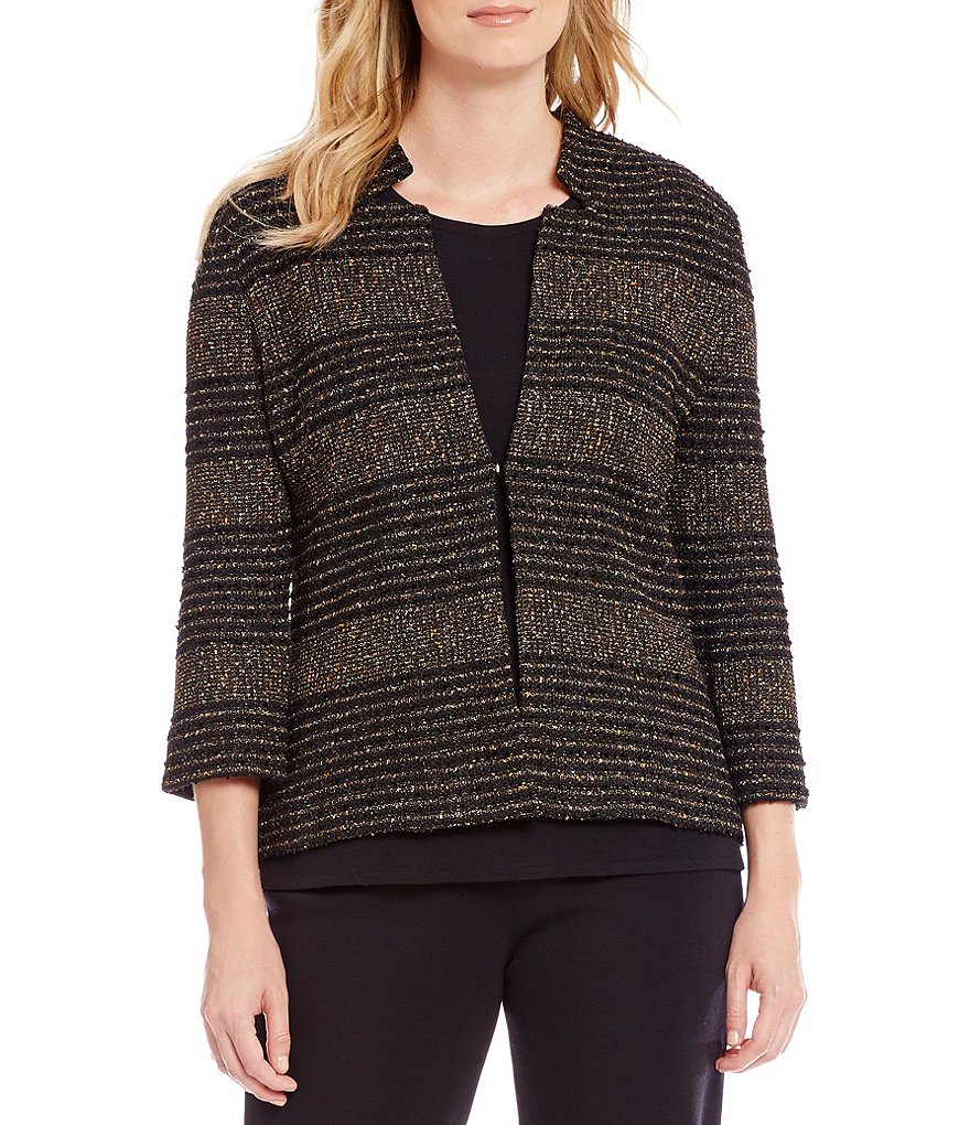 Ming Wang Notch Neckline Bronze Stripe Jacket