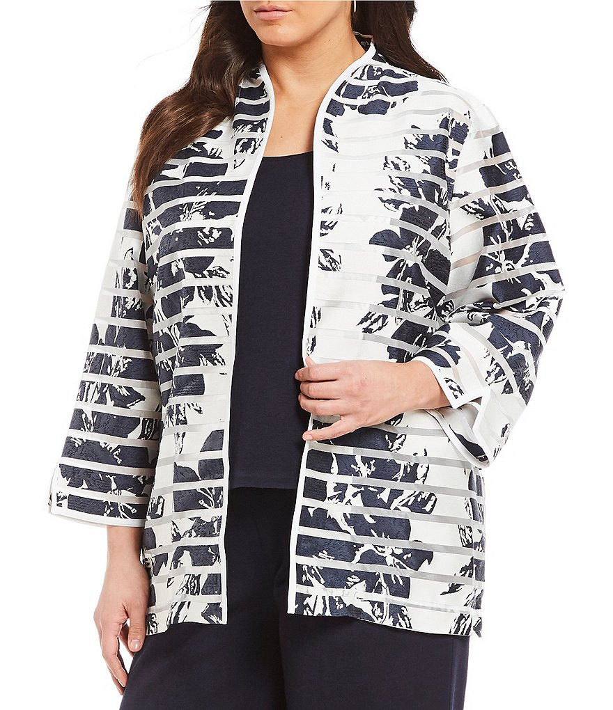 Ming Wang Plus Modified Mandarin Neckline Floral-Stripe Print Jacket