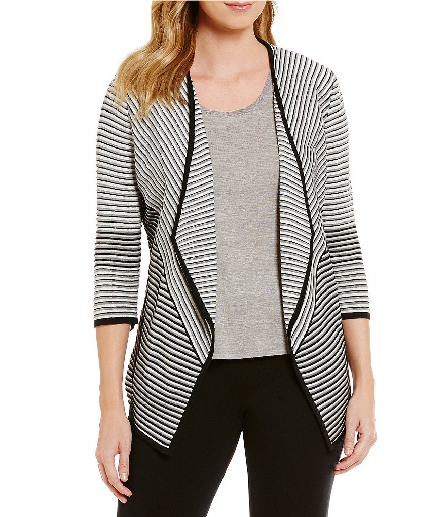 Ming Wang Wing Collar 3/4 Sleeve Striped Open Front Jacket