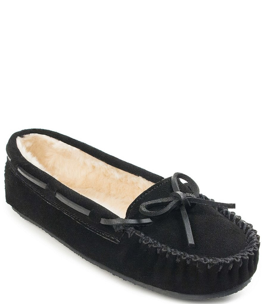 Minnetonka Cally Suede Moccasin with Faux Fur Trim Slippers