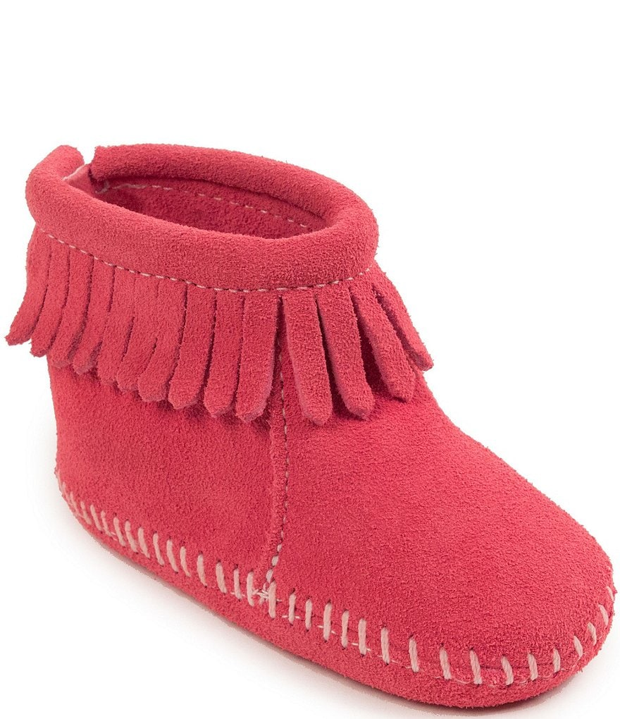 Minnetonka Girl's Back Flap Bootie Crib Shoe
