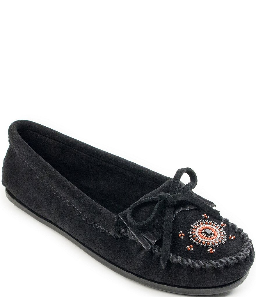 Minnetonka Me To We Beaded Suede Moccasins
